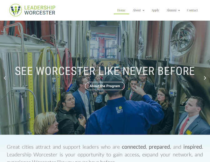 Screenshot of the Leadership Worcester home page